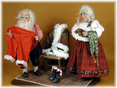 Santa's Old Costume - One-of-a-kind Art Doll by Tanya Abaimova