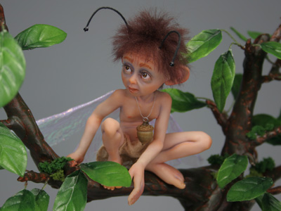 Acorn Moth Fairy - One-of-a-kind Art Doll by Tanya Abaimova