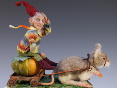 Pumpkin Ride - One-of-a-kind Art Doll by Tanya Abaimova