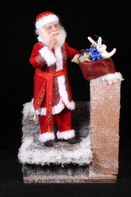 Santa's Down the Chimney Tonight - One-Of-A-Kind Doll by Tanya Abaimova. Characters Gallery