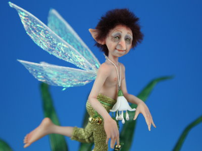 Grasshopper Pixie - One-of-a-kind Art Doll by Tanya Abaimova
