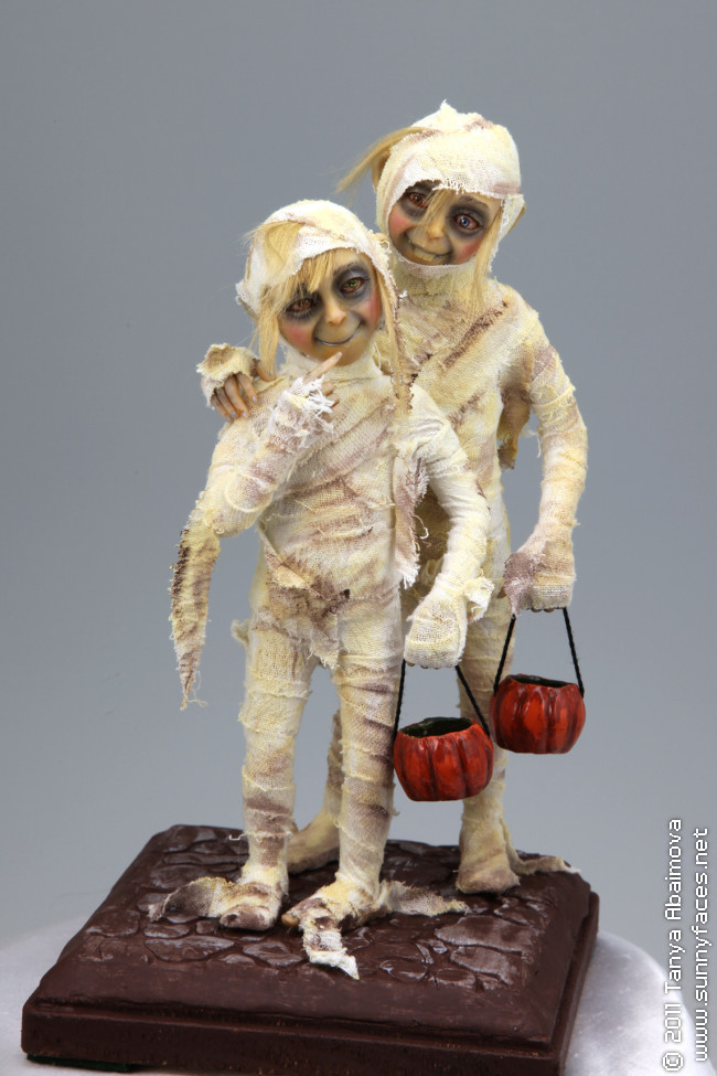 Shy Trick-O-Treaters - One-Of-A-Kind Doll by Tanya Abaimova. Creatures Gallery