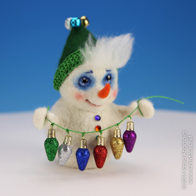 Snowman With Christmas Lights - One-Of-A-Kind Doll by Tanya Abaimova. Soft Sculptures Gallery