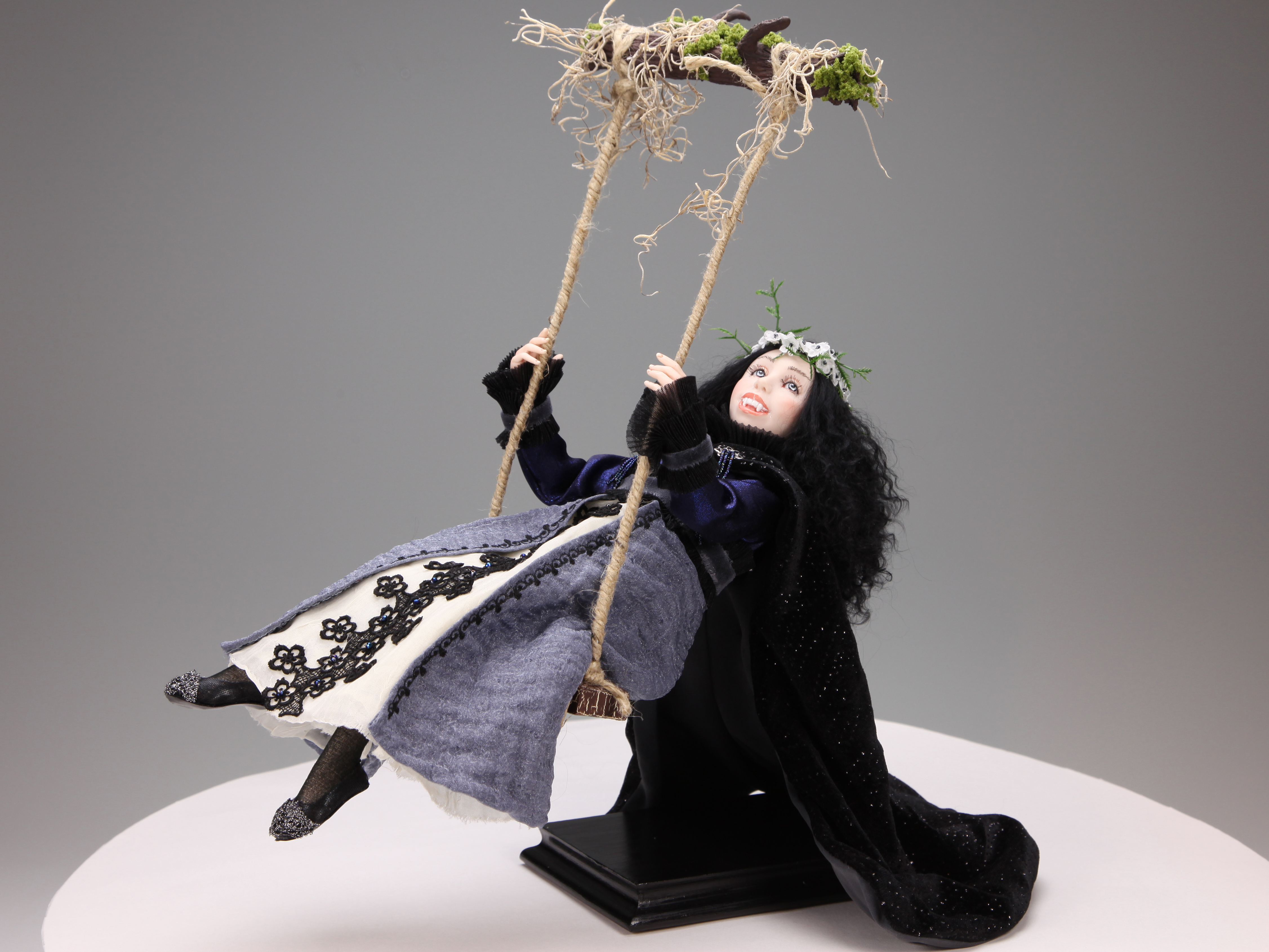 Swings Under The Moon - One-of-a-kind Art Doll by Tanya Abaimova